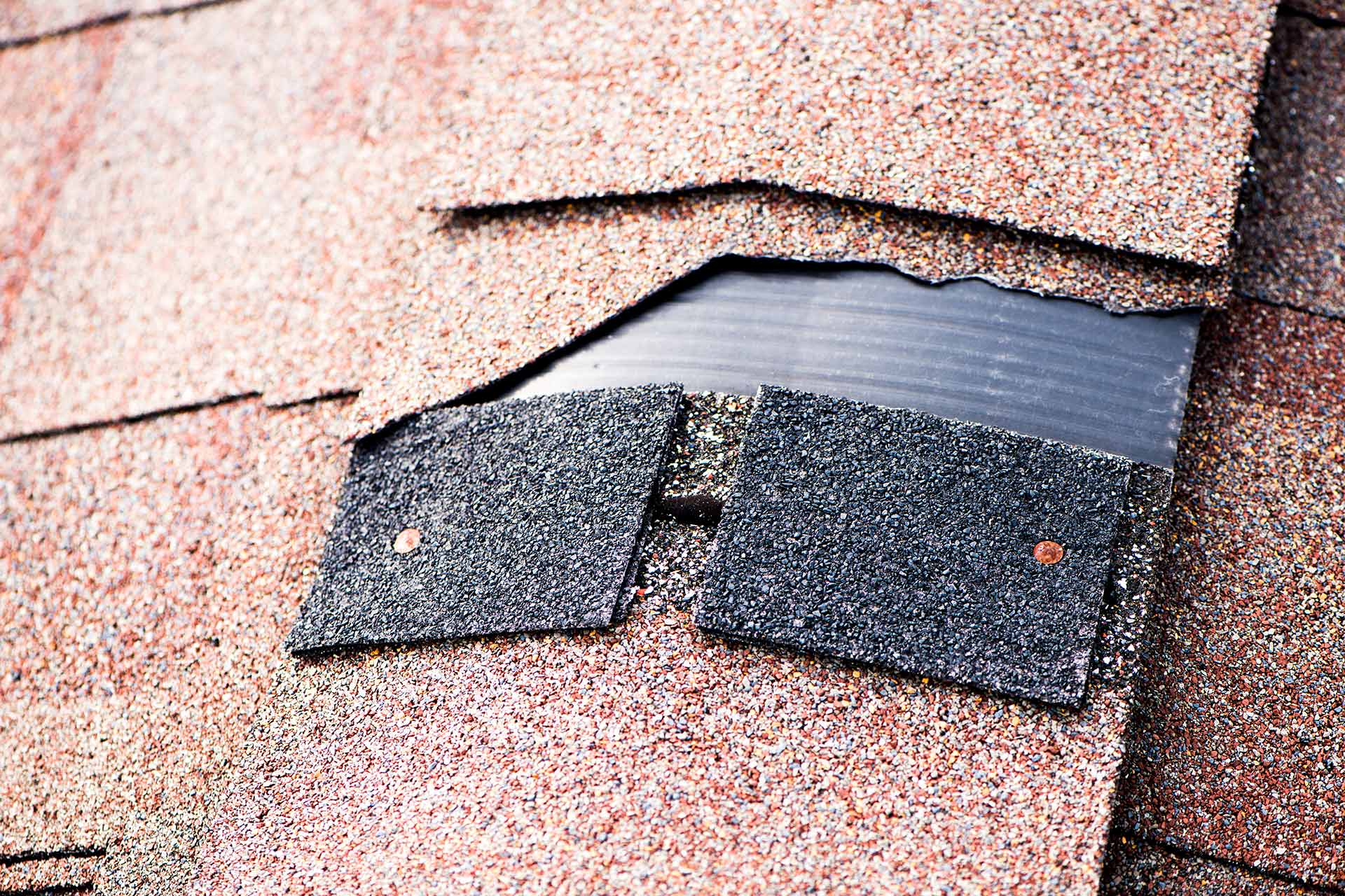 Damaged roof shingles on a home in Lakeland, FL.